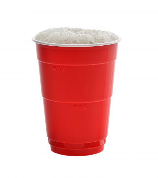 Partybecher 400 ml rot-weiß - Red Cups