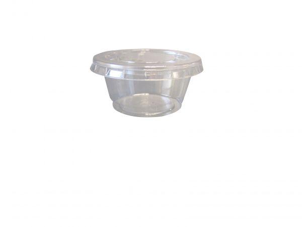 Deckel für Portionsbecher aus PLA 50 ml, transparent