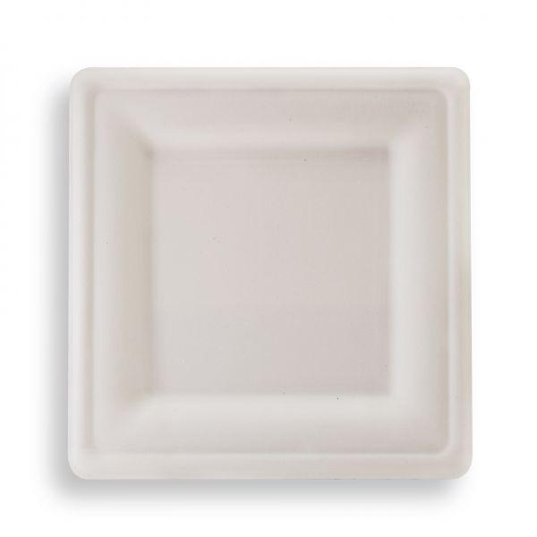 Quadratischer Fiber Teller 20 x 20 cm. weiß