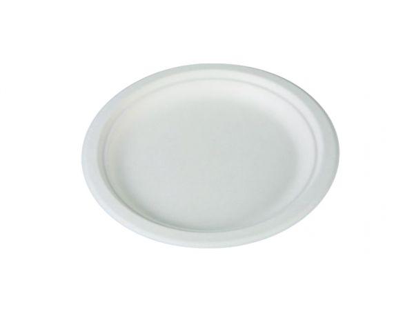 Teller rund 17cm, weiß, aus Zuckerrohr