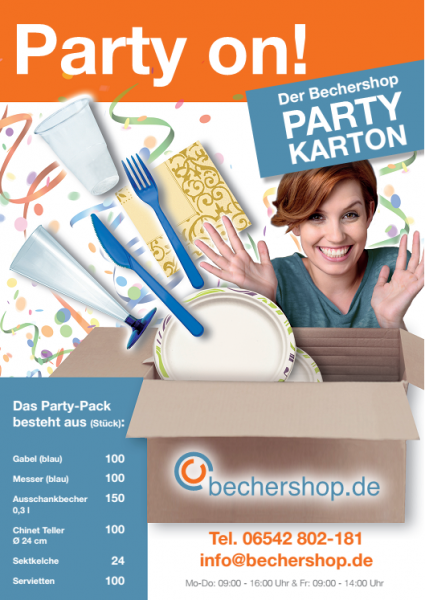 Einweggeschirr Partyset (Becher, Besteck, Sektkelche, Servietten) - Nicht lieferbar in die Schweiz -