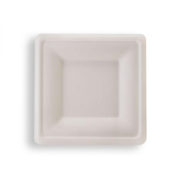 Quadratischer Fiber Teller 16 x 16 cm. weiß