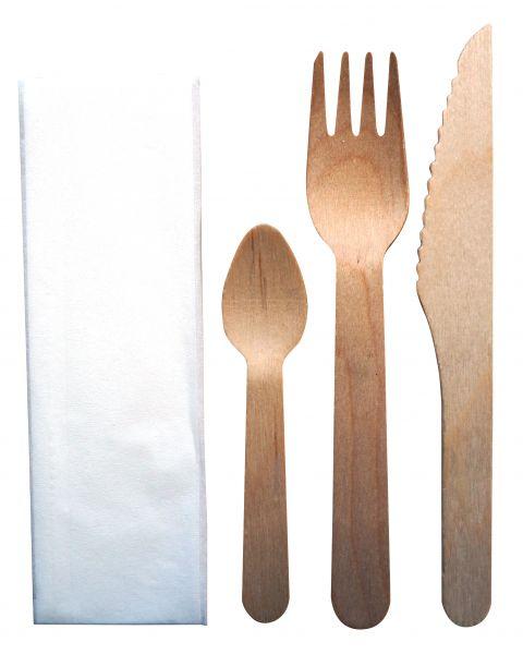 Set Holzmesser, -gabel und -dessertlöffel beschichtet inkl. Serviette