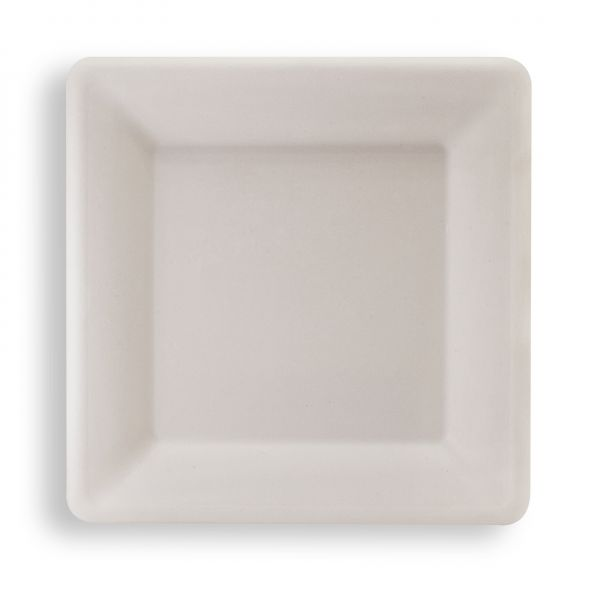 Nachhaltiger quadratischer Fiber Teller weiß