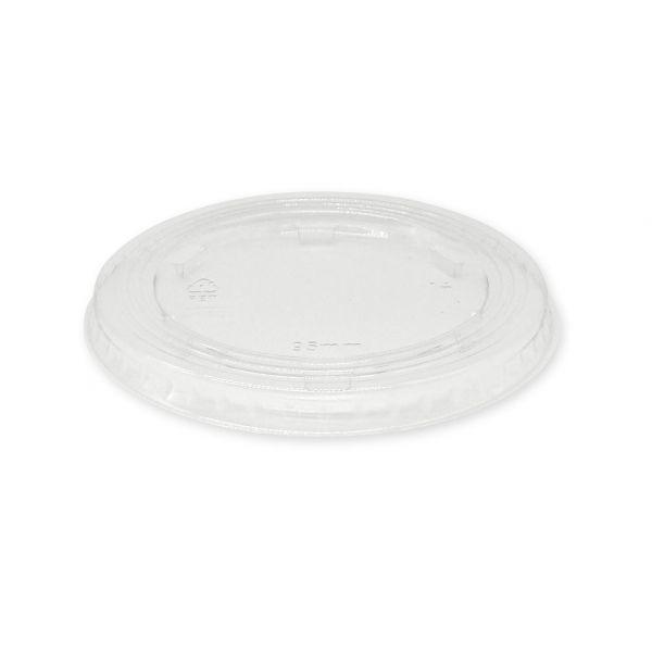 PET Flachdeckel ohne Loch 95 mm transparent
