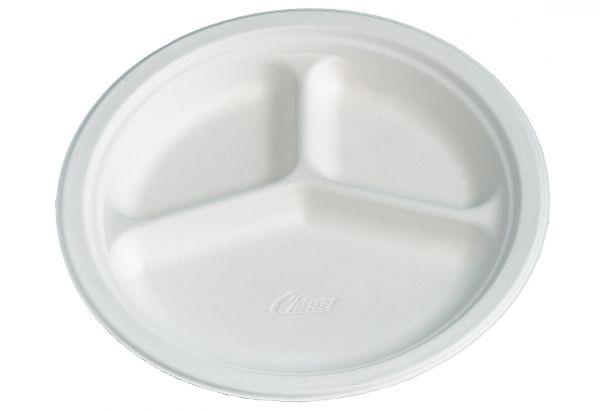 Bio-Teller 3-geteilt 26 cm CHINET weiß, Bio-Geschirr