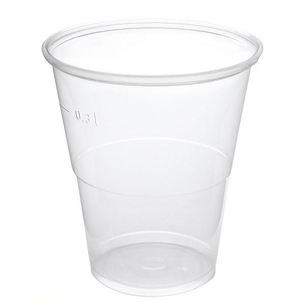 Bierbecher. transparent. PP. 300 ml mit Füllstrich
