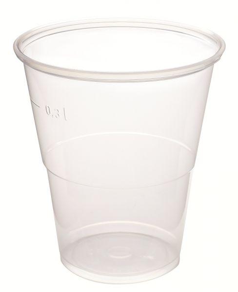 Bierbecher, transparent, PP, 300 ml mit Füllstrich