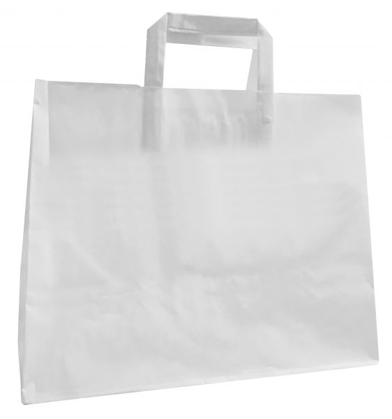 Papiertüte L weiß. 32 x 16 x 27 cm