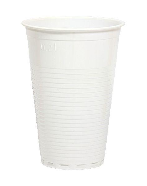 Ausschankbecher, weiß, PS, 200 ml